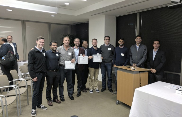 1st place Engage3 winners (Ken Ouimet and Edris Bemanian), 2nd place winners from PocketPoints Mitch Gardner and Rob Richardson), 3rd place winner Ken Kruszka from SnapCheck and venture capitalist judges John Dougery, Arjun Chopra, Ankur Jain, and Lokesh Sikaria.