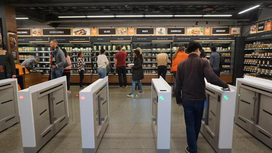 Amazon Go: Pre-made meals and snacks are the focus here