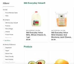 Whole Foods search filter
